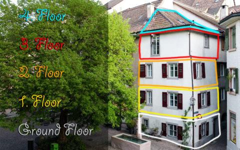 Haus unterteilt in Etagen